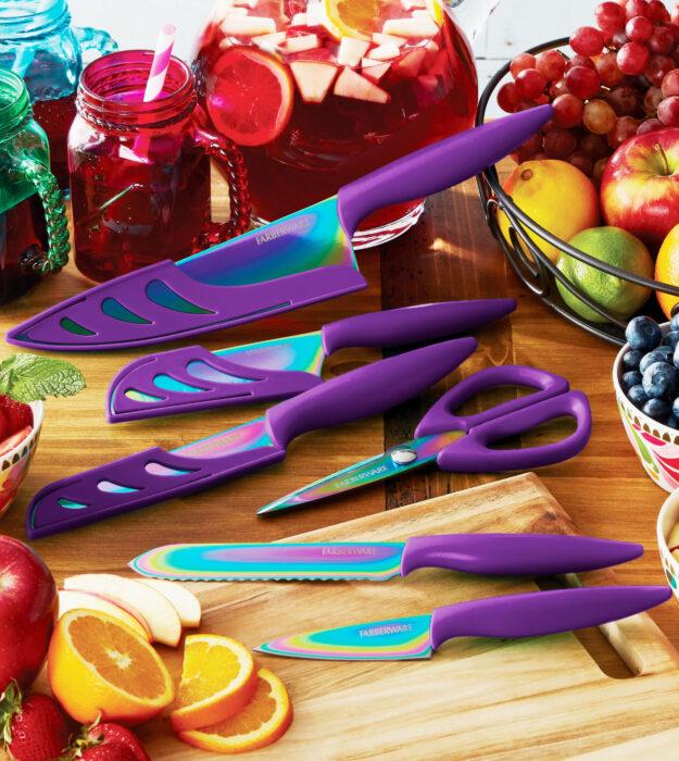 Utensilios bonitos y kawaii de cocina; juego de cuchillos morados y de colores holográficos, verde, azul, amarillo y rosa