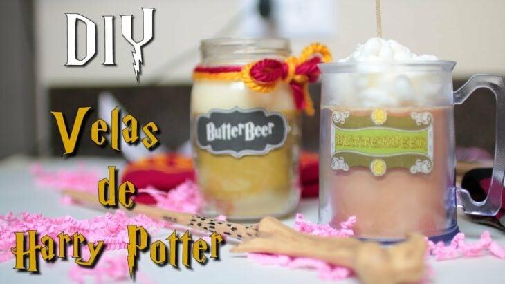 Velas aromáticas como tarros de cerveza de mantequilla, Harry Potter; Tutoriales para hacer tus propias velas aromáticas