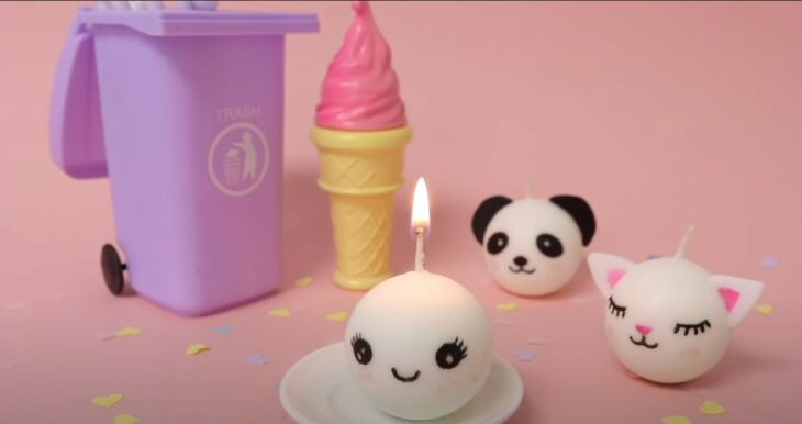 Velas diseño de muñecos kawaii; Tutoriales para hacer tus propias velas aromáticas