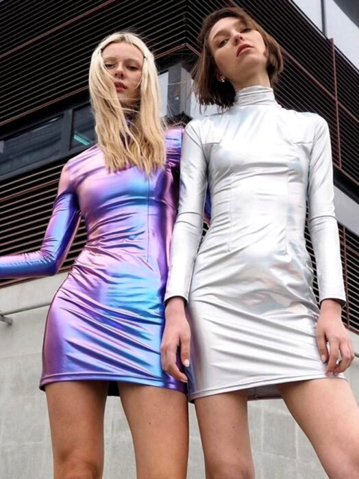Iridescent dress, holographic purple, long sleeves, and white, futuristic, blonde and brown friends