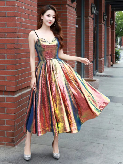 Iridescent Orange Holographic Strappy Ankle Length Dress, Long Wavy Reddish Brown Hair Korean Woman