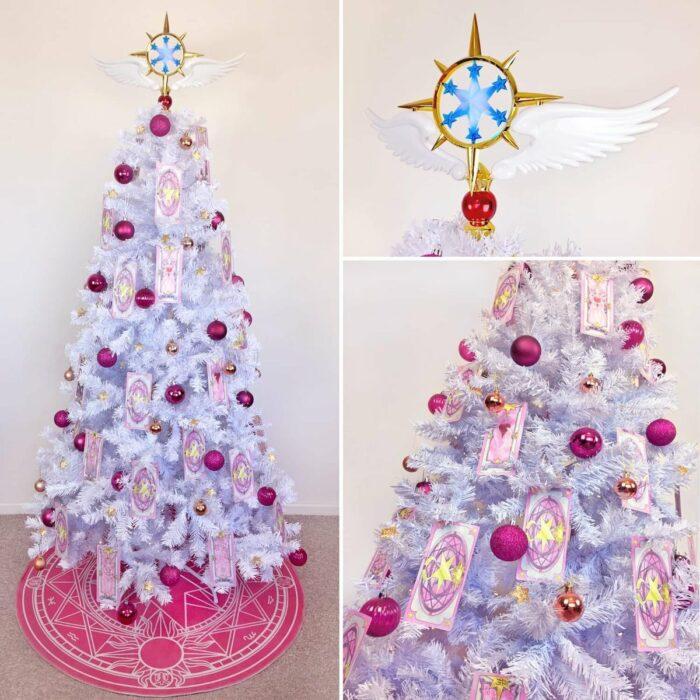 arbolito de Navidad decorado e inspirado en Sakura Card Captors ; arbolitos navideños inspirados en series, películas y animes japoneses
