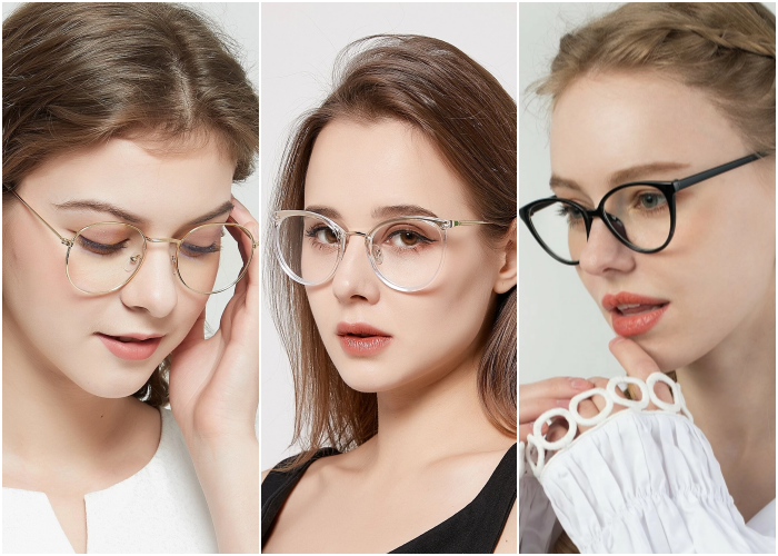 blonde girl wearing glasses eyeglasses with thin metallic, transparent and black frame