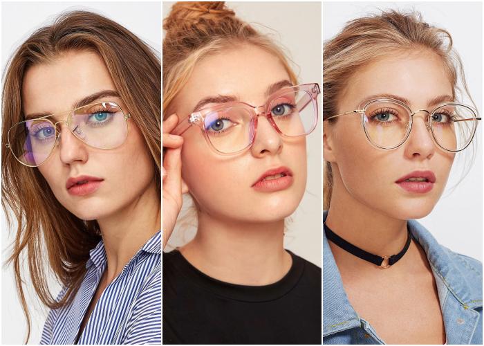 chica rubia usando lentes anteojos con marco dorado metálico, camisa de vestir azul con líneas blancas