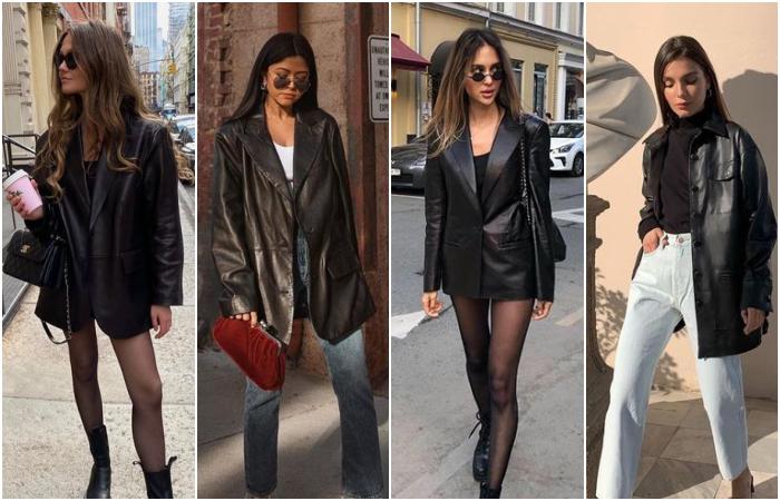 chicas de cabello castaño usando abrigos de cuero negro con medias, pantalones de mezclilla y botines