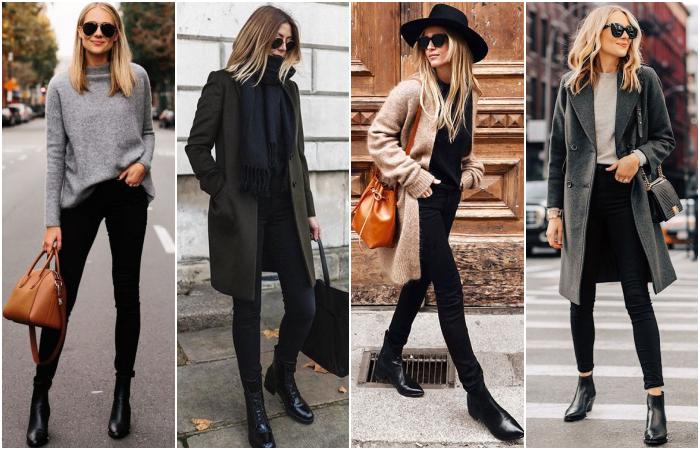 chicas de cabello rubio y castaño con suéteres negros, abrigos largos, botines y skinny jeans negros