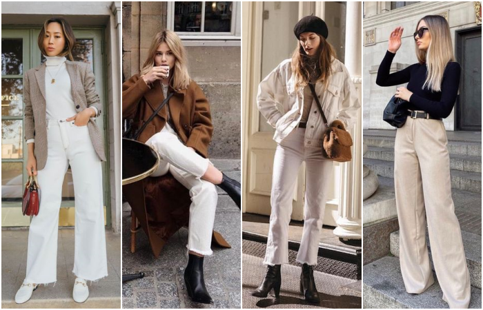 girls with blonde, brown and black hair wearing beige pants with booties, trainers and brown and beige coats, black high neck top and brown handbags