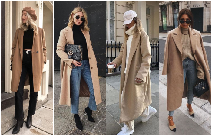 blonde girls in long beige coats with black jeans and white pants and black tennis shoes and ankle boots