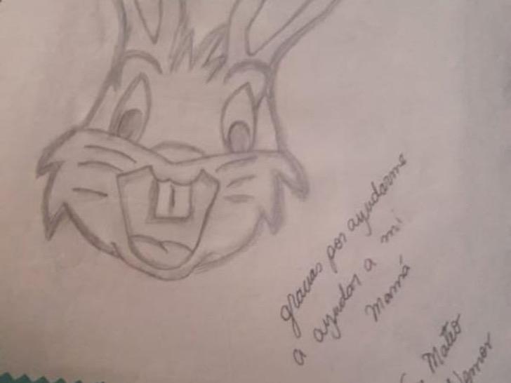 Dibujo de Mateo, en donde sale un conejo y una frase de agradecimiento