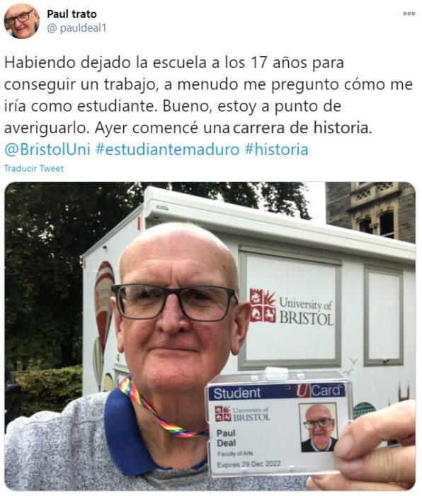 Screen shot de twitter del abuelito contando su historia