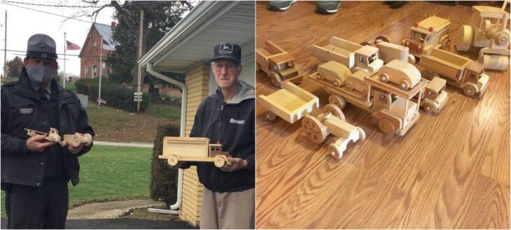 Ed Higinbotham; Abuelito fabrica juguetes de madera y los regala a los niños pobres en Navidad, junto a un policía local
