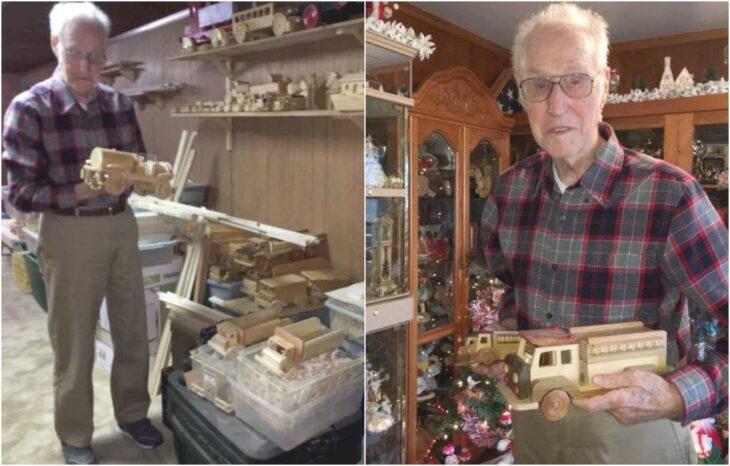 Ed Higinbotham; Abuelito fabrica juguetes de madera y los regala a los niños pobres en Navidad