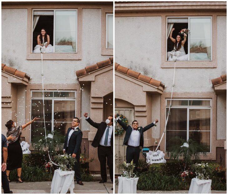 Pareja de novios casándose a través de la ventana