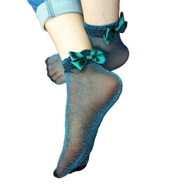 Nice socks with glitter, blue color and bow in the ankle area
