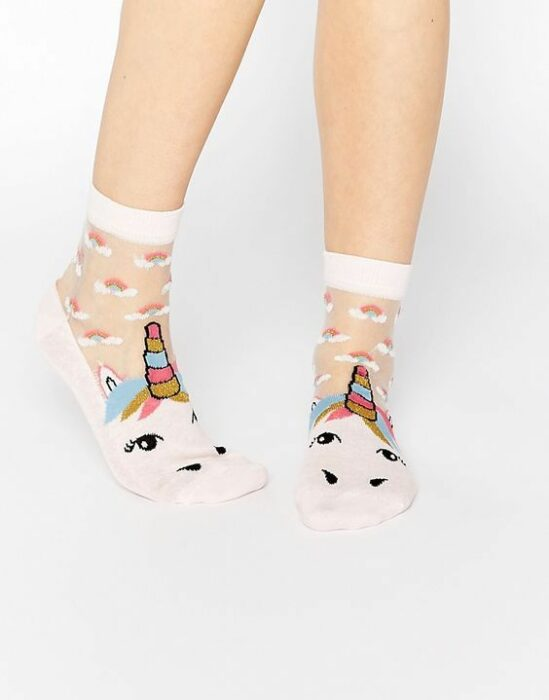 Pretty socks with unicorn decoration