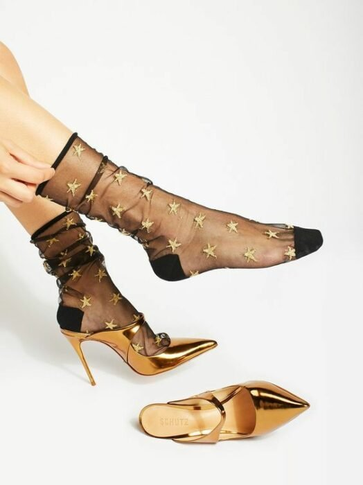 Black transparent socks with golden stars
