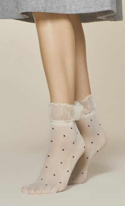 Pretty off-white semi-transparent socks with black polka dots