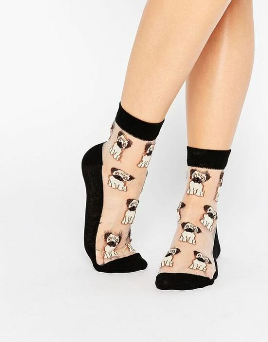 Pretty socks with puppy decorations