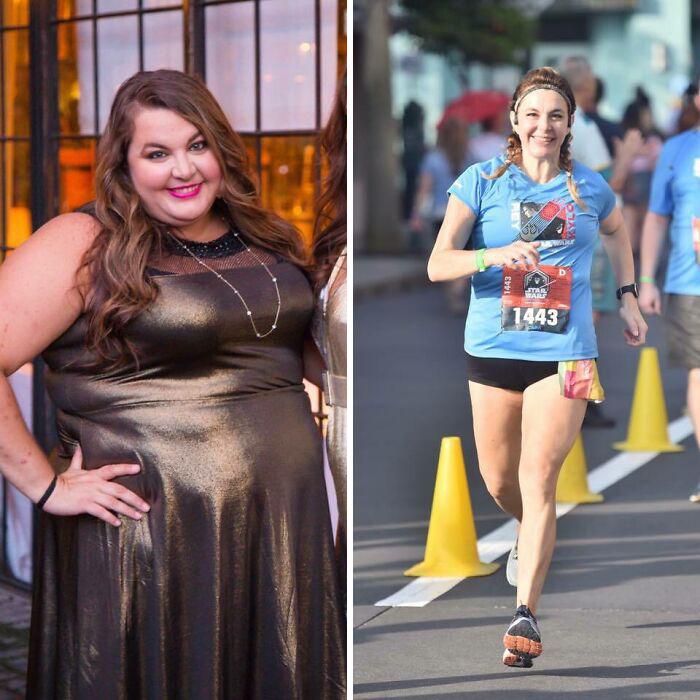 Antes y después de perder peso mujer corriendo en maratón con blusa azul y shorts cortos negros