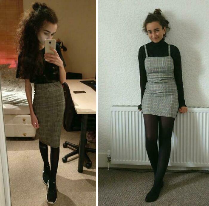 Antes y después de vender a la anorexia de chica bajita, delgada, con cabello rizado y piel morena