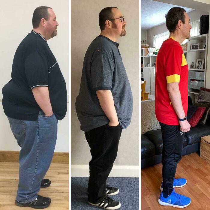 Antes y después de perder peso hombre blanco con barba y cabello corto castaño oscuro