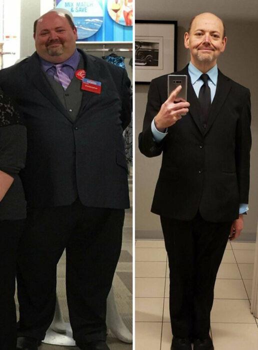 Antes y después de perder peso hombre calvo, blanco con barba de candado y traje negro