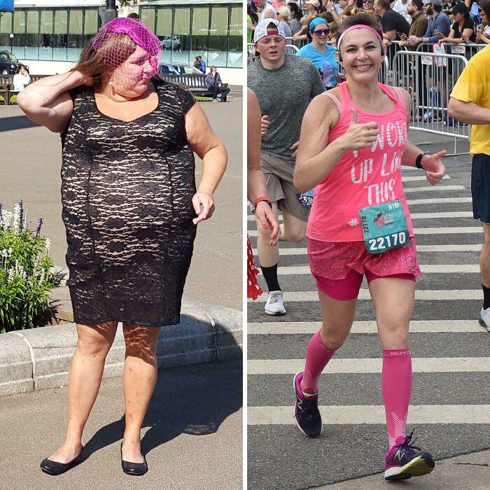 Antes y después de perder peso mujer maratonista con blusa de tirantes y shorts rosas