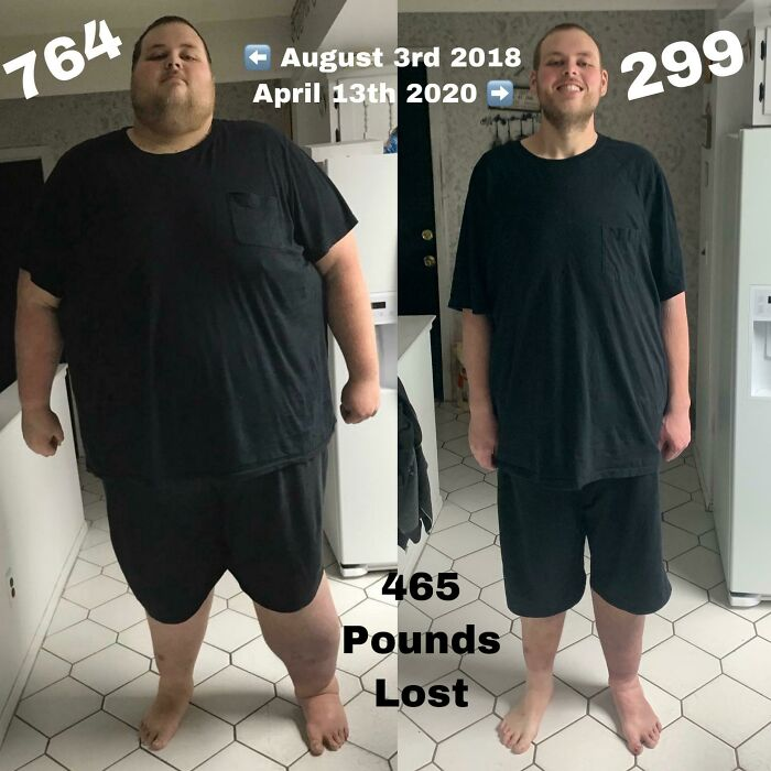 Antes y después de perder peso hombre blanco de cabello castaño claro con cabello corto y vestido con playera negra y short negro