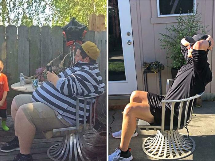 Antes y después de perder peso hombre sentado en una silla de jardín blanca