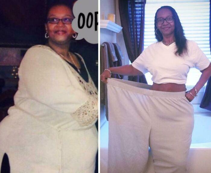 Antes y después de perder peso mujer negra con lentes vistiendo blusa y pans blanco