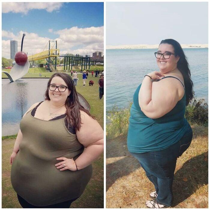 Antes y después de perder peso chica blanca con lentes negros y cabello largo castaño lacio