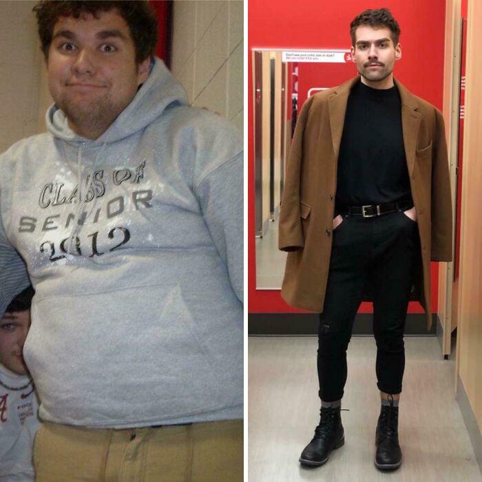 Antes y después de perder peso hombre alto, blanco con barba vistiendo camisa y pantalón negros con un saco largo café