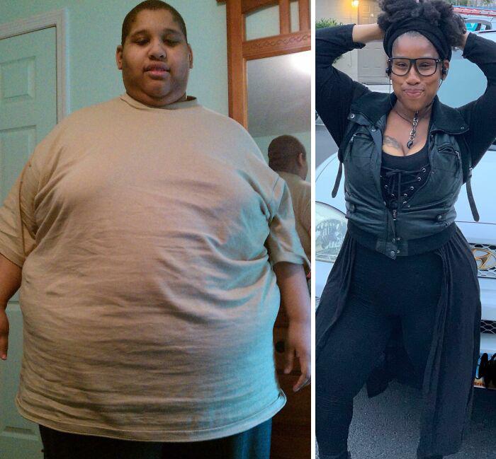Antes y después de perder peso chica negra con lentes de pasta negra con chaqueta y pantalón oscuros