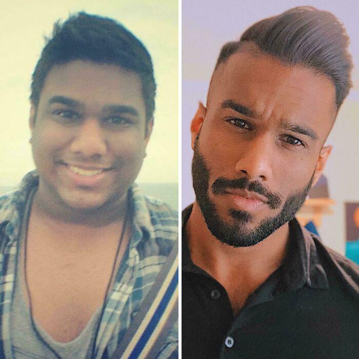 Chico indio muestra su foto antes y después de perder peso