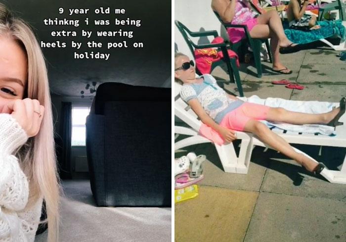Chica mostrando sus fotos de la infancia mientras está en la playa usando tacones