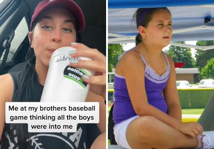 Chicas mostrando el antes y después de su infancia