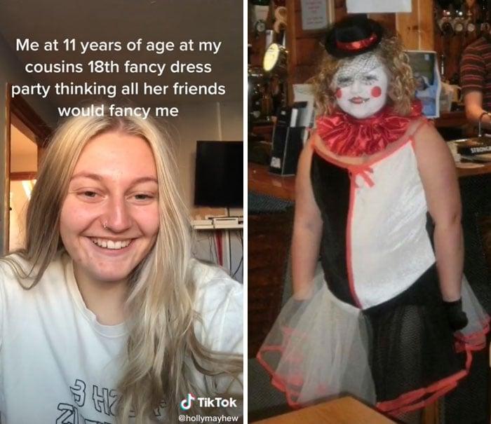 chica mostrando su foto de la infancia en la que se vestía como payasito