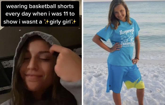 Chica mostrando su foto de la infancia en la que estaba en la playa