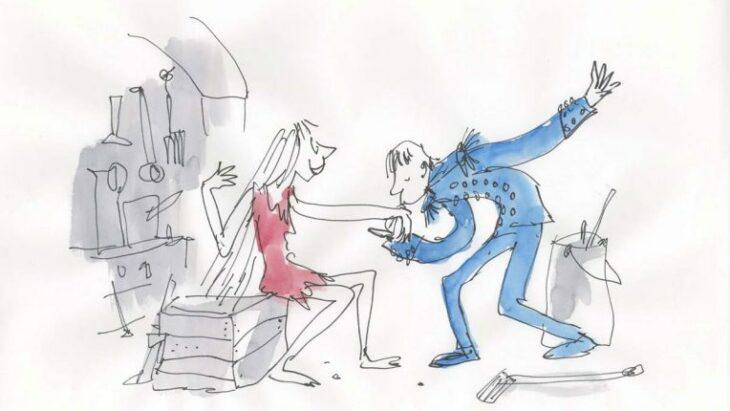 Dibujo del ilustrador Quentin Blake, de Cenicienta y el Príncipe Azul
