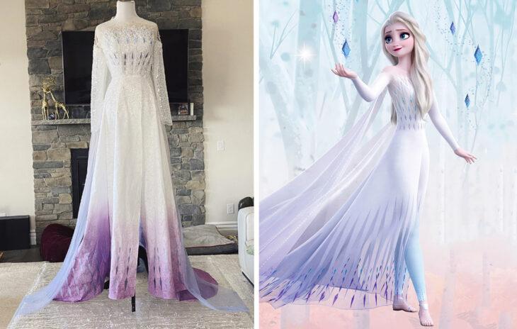 Vestido de la princesa Elsa confeccionado por Sarah Hambly