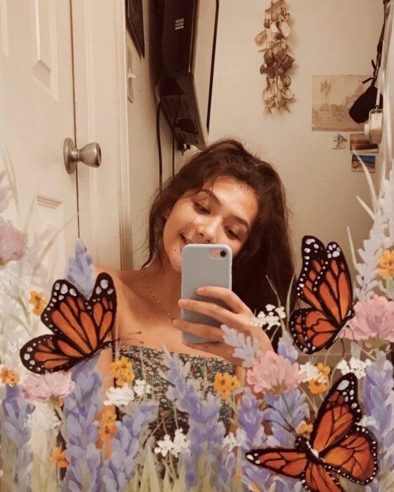 Espejo aesthetic pintado con acuarelas para selfies; campo de lavanda con mariposas monarca