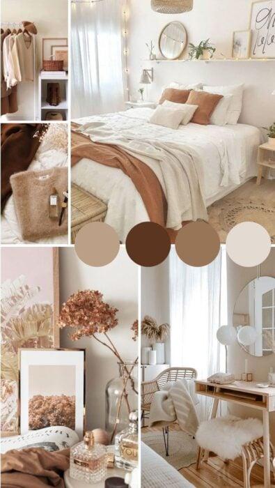 Tonalidades color tierra para habitación