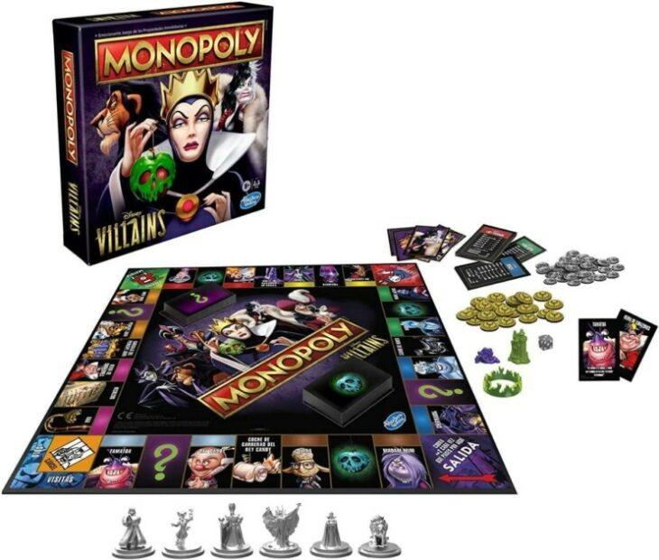 Interior del juego de mesa Monopoly versión villanos Disney; Lanzan Monopoly con todos los villanos Disney y es el regalo perfecto para Navidad