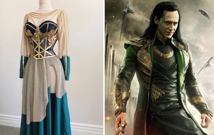 Vestido inspirado en Loki confeccionado por Sarah Hambly