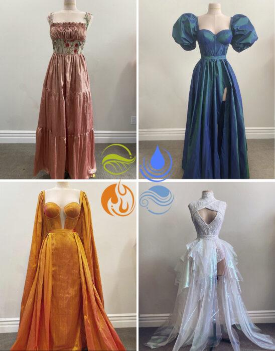 Vestidos inspirados en los cuatro elementos confeccionado por Sarah Hambly
