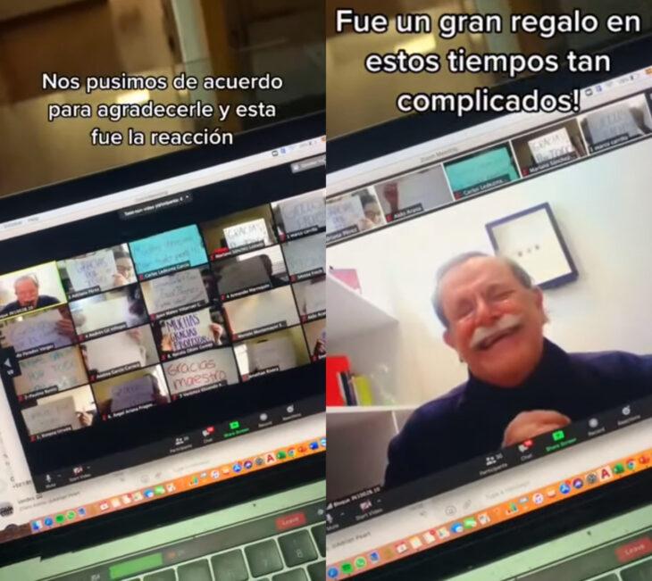Maestro Tilo llora en clase en línea cuando sus alumnos le agradecen con carteles y mensajes bonitos