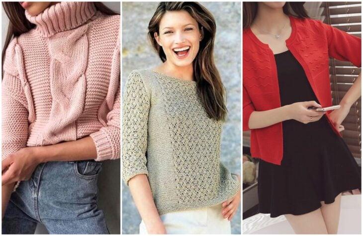 Chica con suéter de estambre de mangas 3/4; Guía rápida para usar mangas 3/4 sin perder el glamur