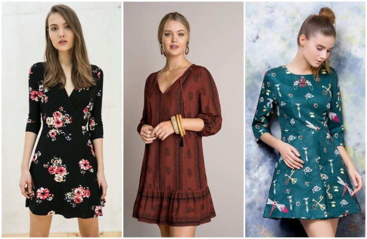 Chicas llevando vestidos casuales con mangas de 3/4; Guía rápida para usar mangas 3/4 sin perder el glamur