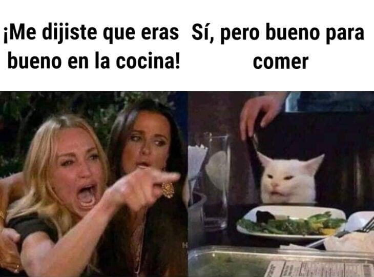 Los memes virales del 2020; mujer gritándole al gato confundido en la mesa; Taylor Armstrong, Kylie Richards de The Real Housewives of Beverly Hills, y el felino blanco Smudge al que no le gustan las verduras