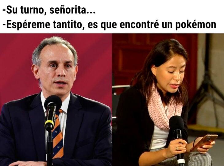 Los memes virales del 2020; Hugo López-Gatell y reportera de El Sol de México, Sarahi Uribe